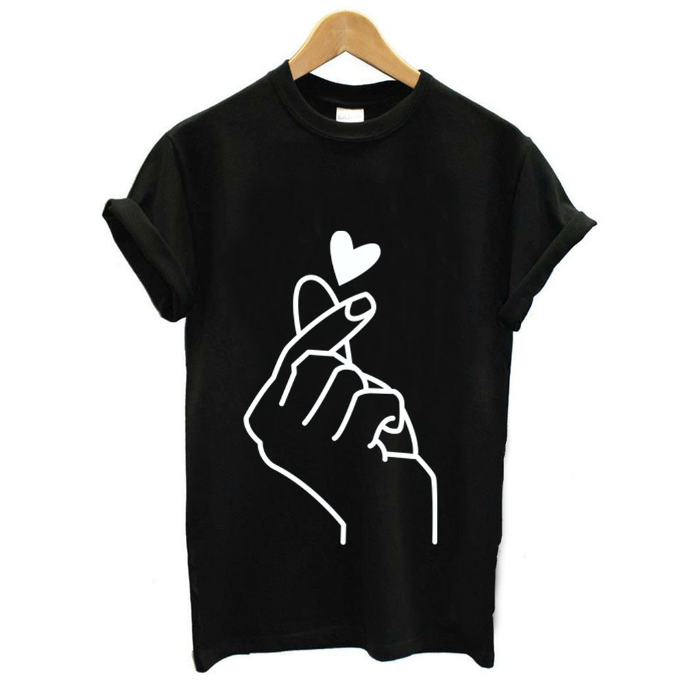 Finger Heart Print T Shirt Women Short Sleeve O Neck Loose Tshirt 2019 Summer Women Tee Shirt Tops Camisetas Mujer