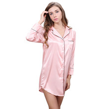 Long Sleeve Sleep Top Women's Night Shirts Stain Sleep Wear With Pocket Long Style Negligees White Black Blue Pink(China)