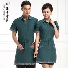 Hotel Uniform Bubble Sleeve Shirt Short Sleeved Summer Waiter Catering Uniforms Female Restaurant Hotel J282