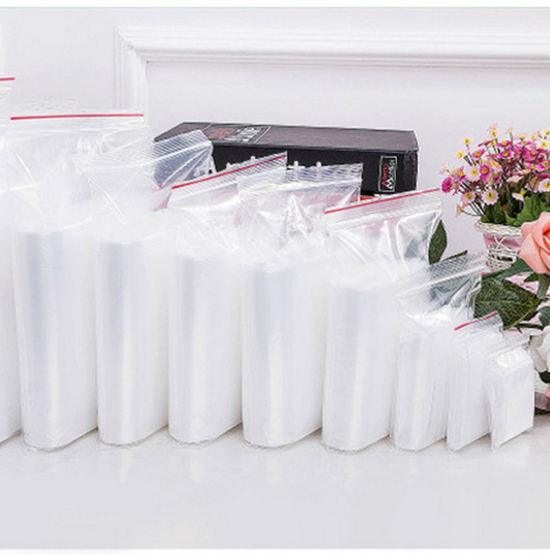 100pcs 4X6/5X7/6X8/7X10CM Plastic Zip Lock Ziplock Bags Clear Food Storage Package Jewelry Packing Reclosable Poly Zip Bag Thick