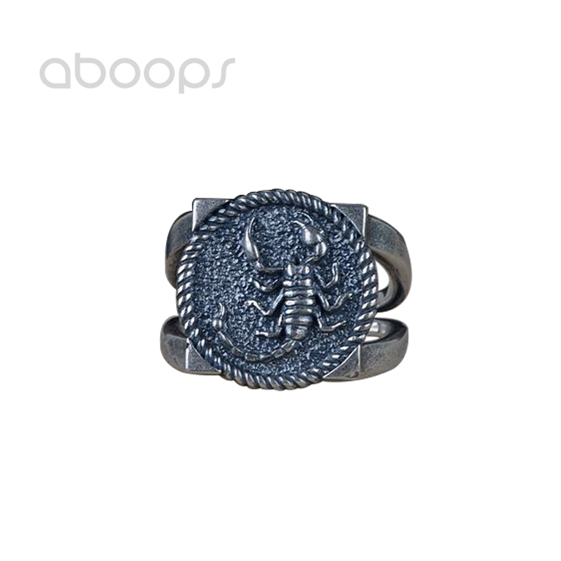 Black Solid 925 Sterling Silver Scorpion Ring for Men Women Adjustable Free Shipping