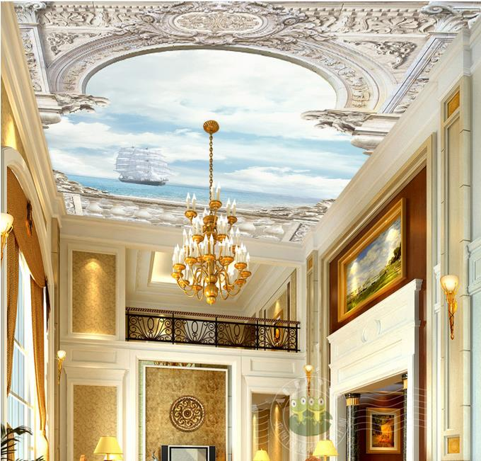 custom 3d ceiling wallpaper White palace with arches over the sea 3d ceiling murals wallpapers for living room photo wallpapers sky ceiling wallpaper photo wallpaper for kids living room bedroom nonwoven wallpaper 3d ceiling murals wallpaper