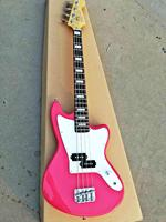 New high quality GYOB 68, Pink color solid body white plate with signature short scale 4 strings Jaguar Bass, Free shipping