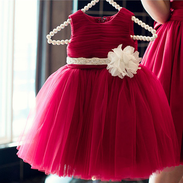 New Arrival Flower Girls Dresses Christmas Red Tulle Graduation Party Wedding Dresses with Flower Sash Formal Kids Gown