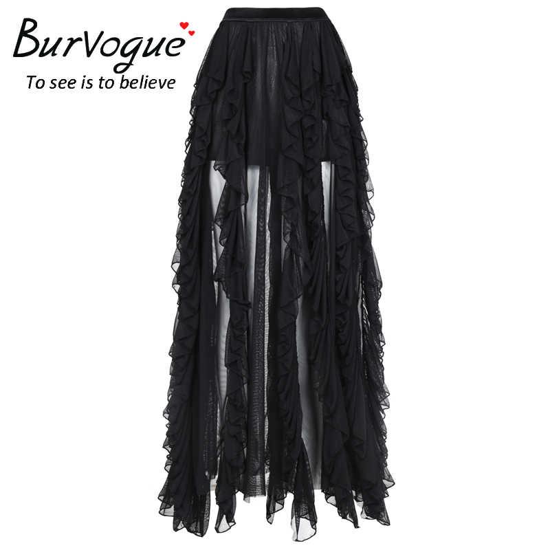 Burvogue женские новые псевдостаринные юбки готические кружевные длинные макси юбки стимпанк корсет юбки Бальные юбки с оборкой