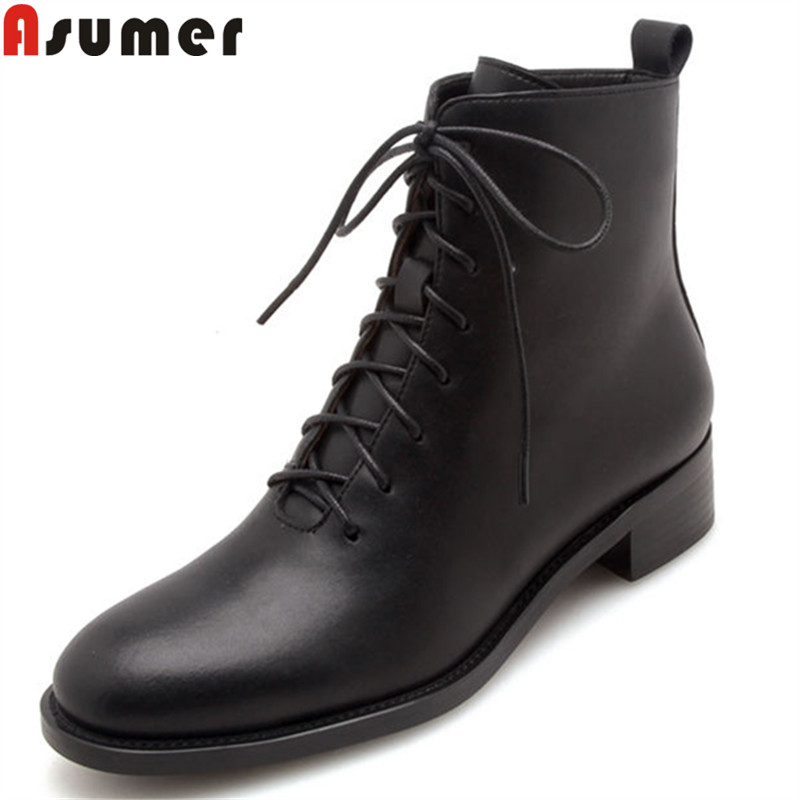 ASUMER black white fashion ankle boots round toe zip cross tied genuine leather boots med heels boots women big size 34-43 big size 34 42 high quality genuine leather leisure low heels ankle boots fashion cowhide round toe platform women boots