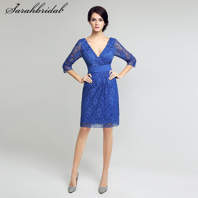 2309d2d750b Royal Blue Short Mother of the Bride Dresses Lace Three Quarter Sleeves V  Neck Knee Length Cocktail Gowns Sheath Backless LX208