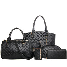 2016 Women Bag Set Plaid font b Handbag b font Girls Bags For Women PU Leather