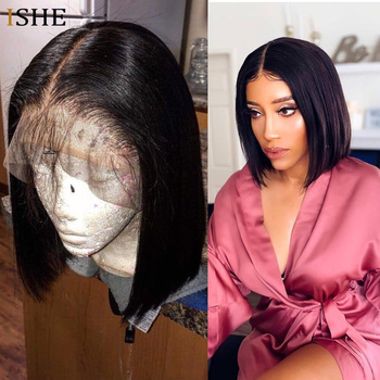 13×6 Big Lace Front Human Hair Wigs Straight Ombre Blonde Red Bob Wigs Glueless Preplucked Remy Hair Full End For Women Black