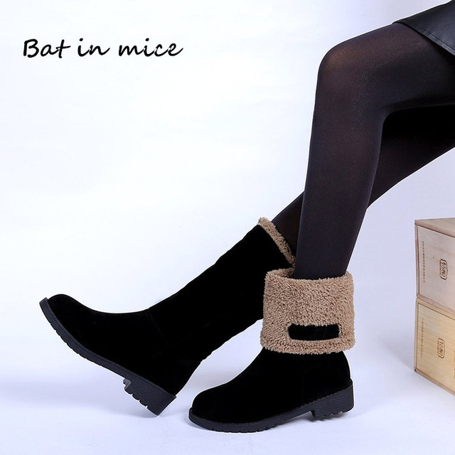 Plus ขนาด 35-4 0 ผู้หญิงสบายๆฤดูหนาว warm Fur หิมะกลางลูกวัวรองเท้าบูทรองเท้าผู้หญิงหญิงรองเท้ารอบ Toe รองเท้าทำงานรองเท้า mujer W469