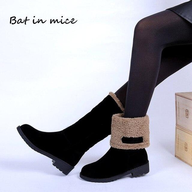 Plus size 35-4 0 Vrouwen Casual Winter warm Bont Sneeuw Mid-Kalf Laarzen schoenen vrouwen Vrouwelijke Flats ronde Neus Werk laarzen schoenen mujer W469