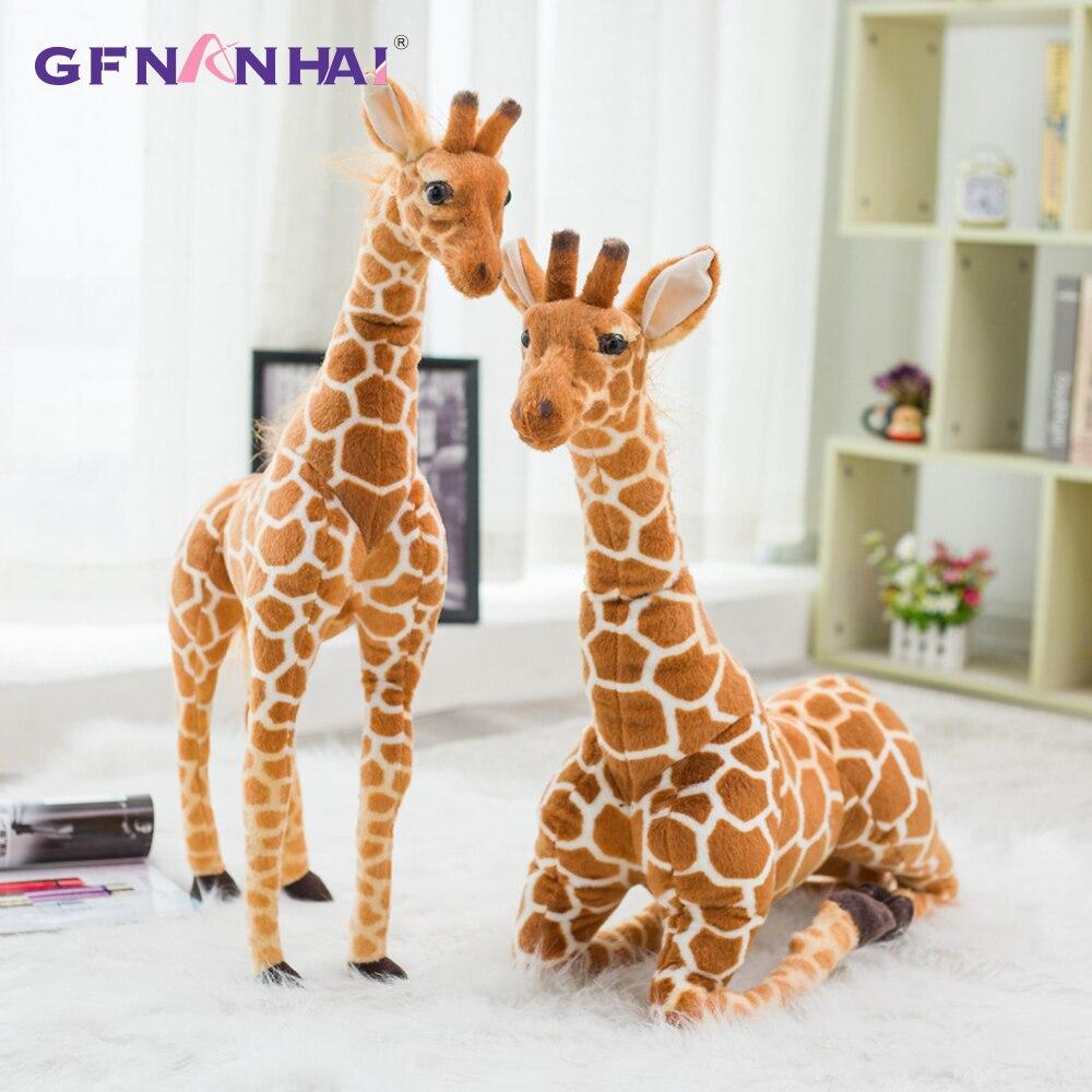 Мягкая имитация жирафа, плюшевые игрушки 80 см, милые мягкие игрушки в виде животных, аксессуары для дома, высокое качество, подарок на день рождения, детская игрушка|Мягкие игрушки животные|   | АлиЭкспресс