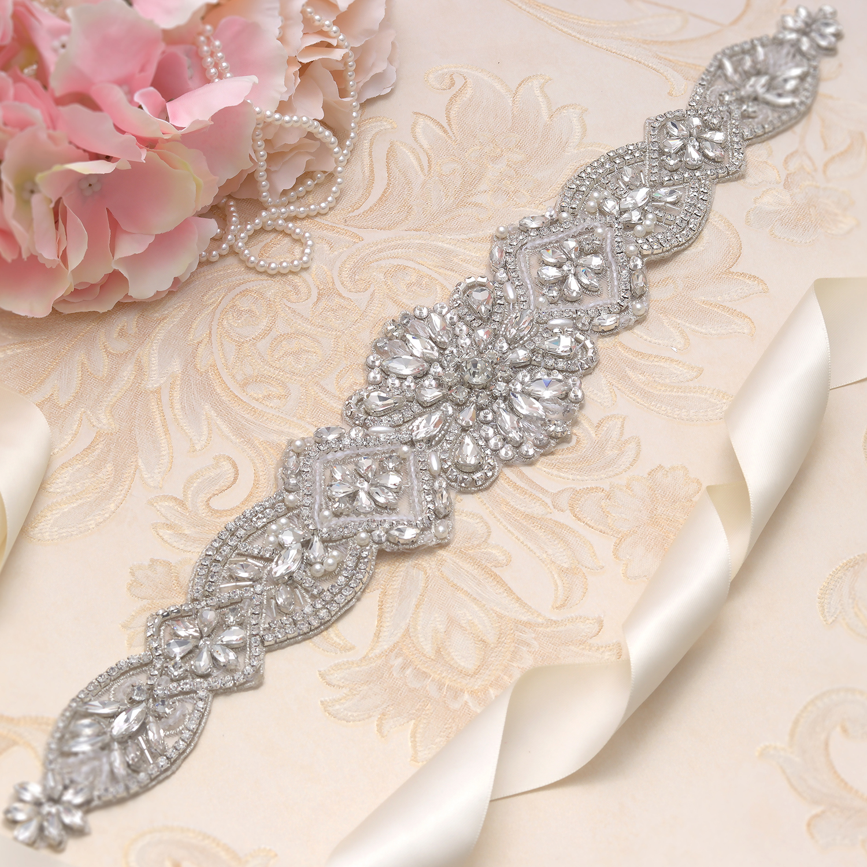 MissRDress Rhinestones Wedding Belt Silver Crystal Bridal Belt Handmade Pearls Wedding Sash For Women Formal Dresses JK828