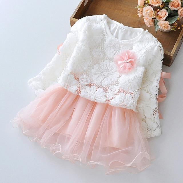 2015 новая осень зима симпатичные кружева пуловер с длинным рукавом девушки платье сетка принцесса малышей девушки одеваются костюм 0 ~ 2 лет новорожденных платье
