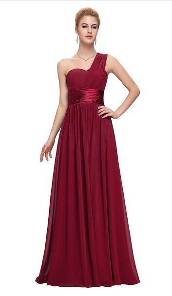Floor-Length  Chiffon  One Shoulder  Ladies Long Gowns Black  New Years Eve Dress Long Wedding Party Dress Wedding Guest Dress