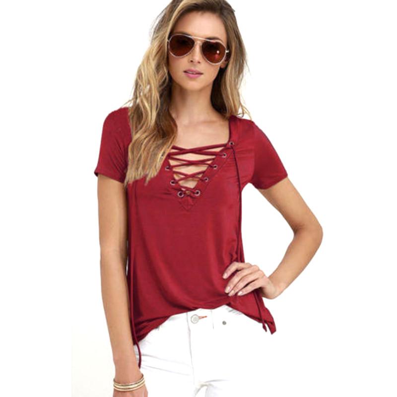 Summer-Fashion-Women-T-shirts-Short-Sleeve-Sexy-Deep-V-Neck-Bandage-Shirts-Women-Up-Tops