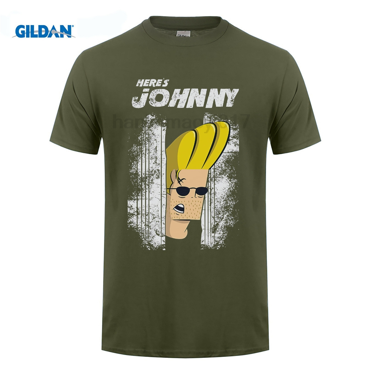 JOHNNY BRAVO T SHIRT HERE'S JOHNNY THE SHINING PARODY PUN JOKE T-Shirt Summer Famous Clothing Tops Men Tee Shirts image