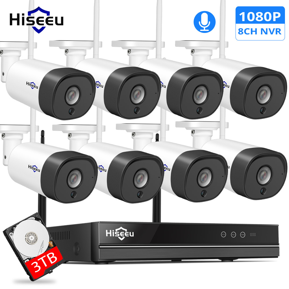 H.265 2MP 8CH Wireless Audio CCTV Security Outdoor IP Camera System NVR Kit 1080P 1T 3T HDD App View Hiseeu