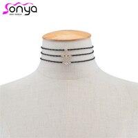 MWSONYA Women Multilayers Choker Necklace Geometric Rhinestone Neck Accessories for Female NE243