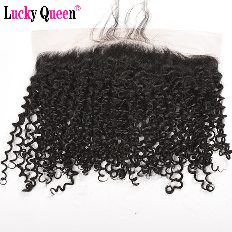 Lucky Queen Hair Brazilian Kinky Curly 13*4 Ear to Ear Lace Frontal Closure With Baby Hair Non Remy Hair 8-20 Swiss Lace