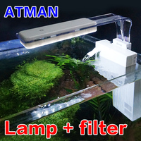 ATMAN T3 Small Fish Tank Low Water Level Back Hanging Filter +LED Lighting Clamp Lamp Function 2 in 1 Simple And Beautiful White