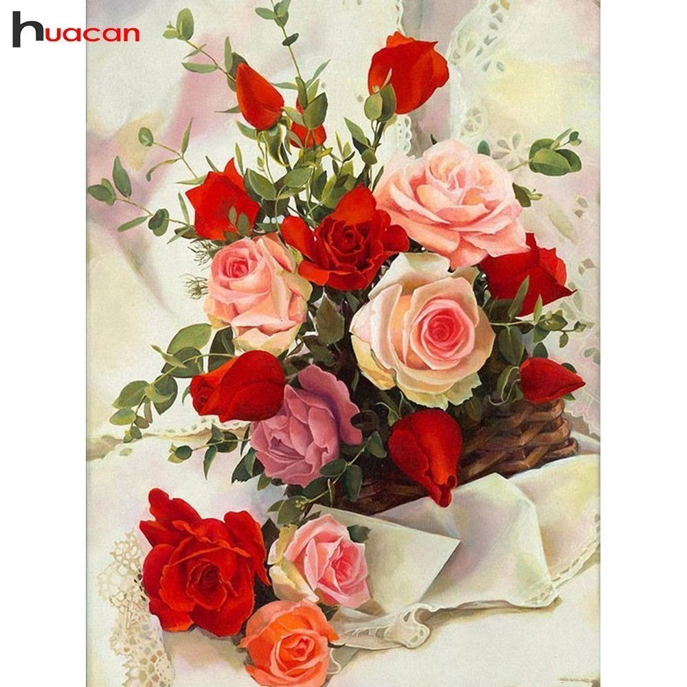HUACAN Full Square New Arrival Drill Mosaic Diamond Embroidery Rose 5D DIY Diamond Painting Flowers Garden DecorationHUACAN Full Square New Arrival Drill Mosaic Diamond Embroidery Rose 5D DIY Diamond Painting Flowers Garden Decoration