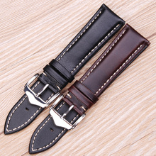 18 19 20 21 22 24mm Vintage Genuine Leather Watchbands Black Dark Brown Replacement Watch Band Strap Polished Metal Buckle