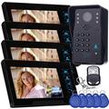 "Free shipping!4pcs 7"" Video Indoor Monitor Home Door Bell Intercom Security Cam Access Control"