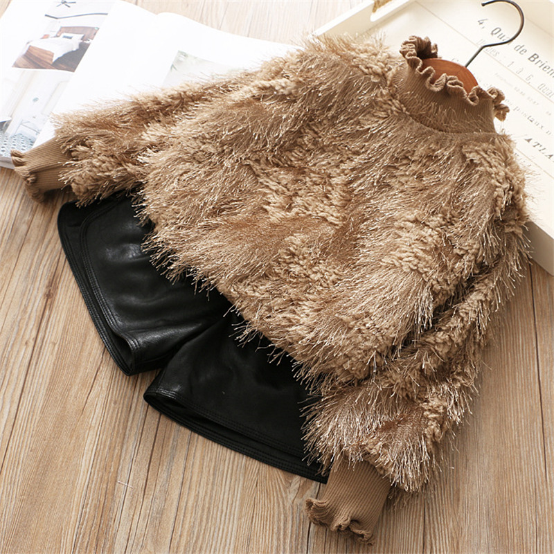 Girls Sweater Warm Knit Clothes 2018 Winter Autumn Thick Fur Outerwear Kids Wool Tops Pullover for Girl 4 5 6 7 years wholesale