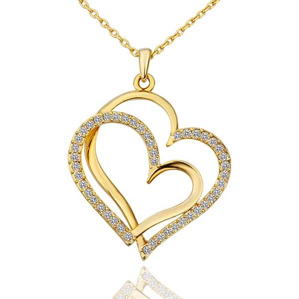1caa6046b04f8 Brand Gold Color Crystals Heart Pendant Necklace Charm Jewelry ...