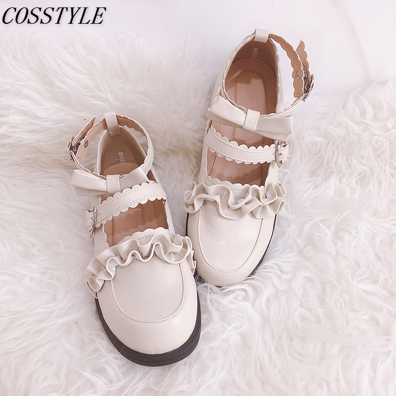 Japanese Style Sweet Lolita Shoes Bow Women College Girl Students LOLITA Shoes JK Uniform Shoes PU Leather Flat Shoes 6 color