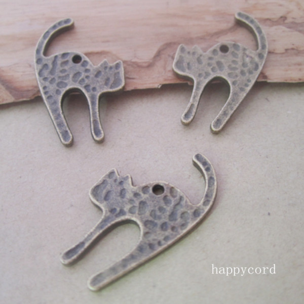 50pcs lot of antique Bronze cat Charms pendant 16mmx27mm in Charms from Jewelry Accessories