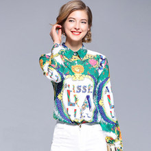 611f1d55a5 THC 2019 fashion designer runway women blouses Bow long sleeve shirt letter  print women blouses plus size luxury female blouse