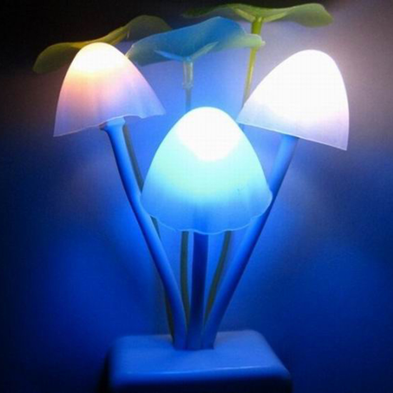 Z30 Colorful Mushroom Lamp Novelty Creative Night Light EU/US Plug Light Sensor 3LED Led Color Baby Night Lights AC110V-220V