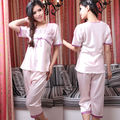 Новое Прибытие Фиолетовый Розовый Пижамы Установить Моды Twinset Пижамы Для Женщин Квадратный Воротник Кружева Ночная Рубашка с Вышивкой На Лето