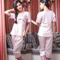 Nueva Llegada Purple Pink Pajamas Set Twinset Pijamas de Moda Para Damas de Encaje de Cuello Cuadrado Camisón Bordado De Verano