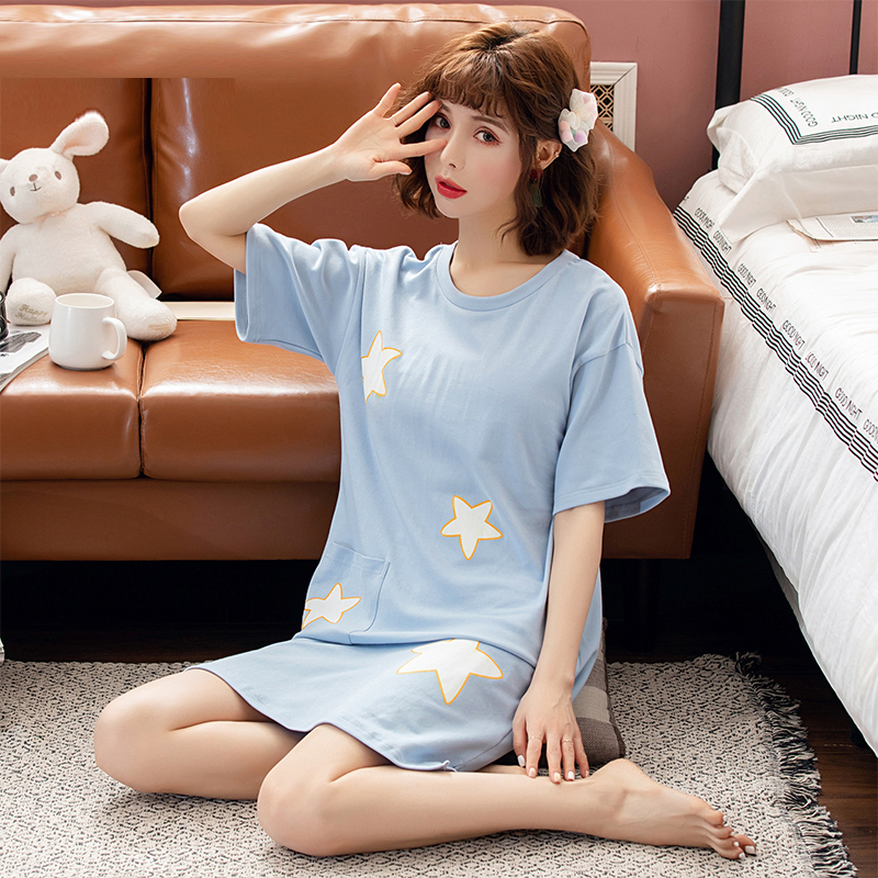 Yidanna Female Cute Cotton   Nightgown   Women Summer   Sleepshirt   Short Sleeved Sleep Clothing Casual Sleepwear O Neck Lady Nightwear