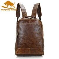 DongFang чудо Для мужчин из натуральной кожи рюкзак унисекс рюкзак Винтаж школьные сумки для девочек мальчиков 14 дюймов Винтаж сумка
