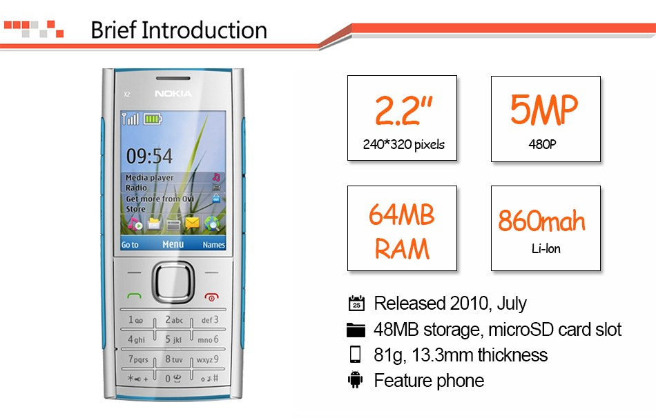 Refurbished phone Nokia X2-00 Bluetooth FM JAVA 5MP Cell Phones Free Shipping black 3