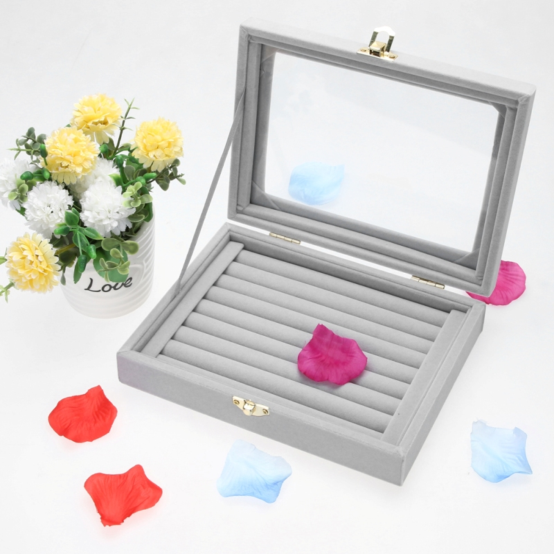 2018 Gray 8 Booths Velvet Carrying Case with Glass Cover Jewelry Ring Display Box Tray Holder Storage Box Organizer