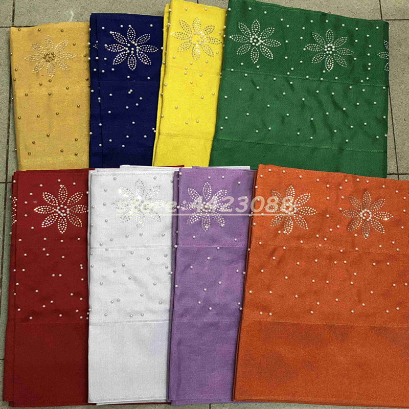 New designs fashion nigerian aso oke gele headtie embroidery with beads stones high quality wraps fabric  2piece/set  for womenNew designs fashion nigerian aso oke gele headtie embroidery with beads stones high quality wraps fabric  2piece/set  for women