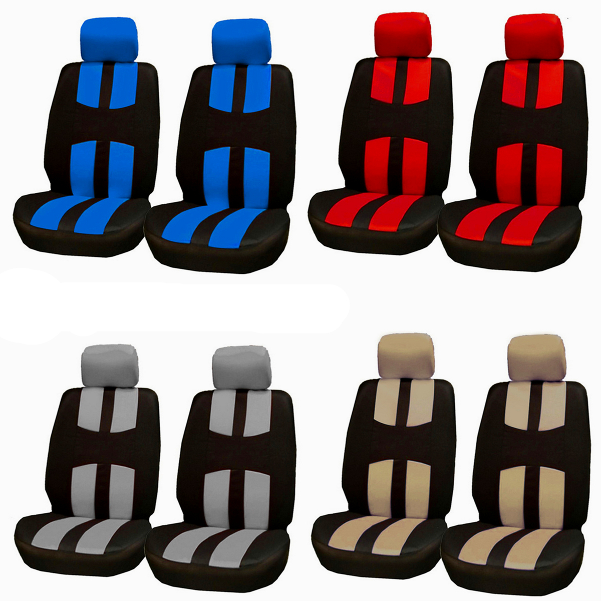ECO LEATHER UNIVERSAL FRONT SEAT COVERS FITS VAUXHALL MOVANO UP TO 2010