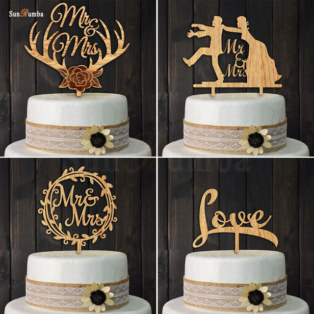 1pcs Rustic Wood Cake Topper Wedding Decoration Event Party Cake