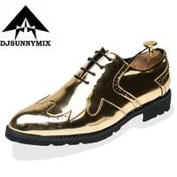DJSUNNYMIX Brand Men Dress Shoes Gold Black Italian Fashion Business Oxford Shoes 2018