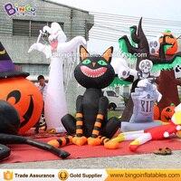 Бесплатная Доставка 2 м/3 м надувные черная кошка для хеллоуина горячая Распродажа взорвать ужасный сверхъестественной кошка шар для вечерн