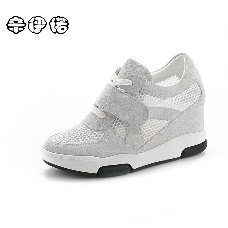 Breather Summer Women Shoes 2017 Wedge Boots Platforms Shoes Woman Hidden Heels Mesh Casual Ladies Shoes