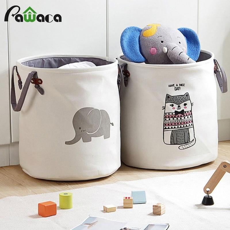 Folding Laundry Sorter Hamper Dirty Clothes Washing Basket Cotton Handle Bag Storage Organizer For Home Baby Toy Storage Basket