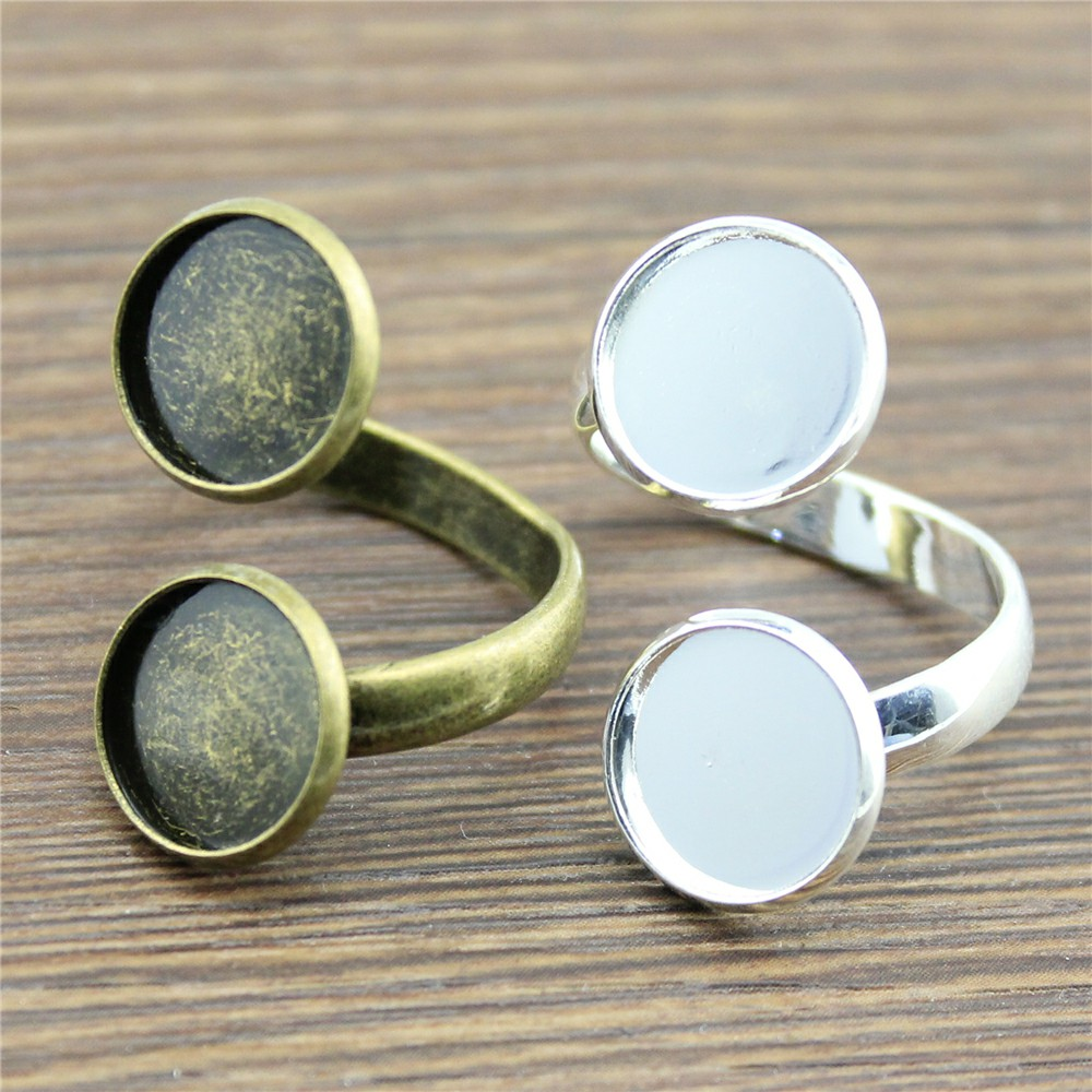 WYSIWYG 50 Pieces Stud Earrings For Diy Jewelry Findings Hand Made Earrings For Women Fashion Inner Size 12mm Round Cabochon Cameo settings Tray Bezel Blank