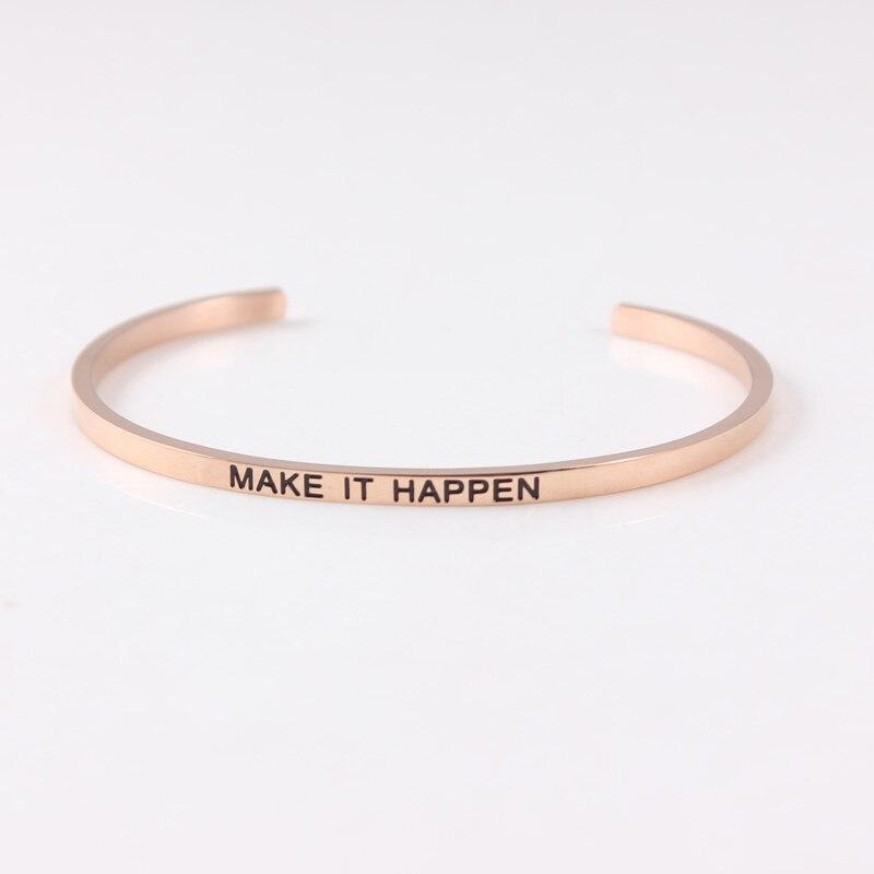 Bracelet en acier inoxydable 316L gravé faire en sorte que le Mantra inspirant positif soit bracelets pour femme