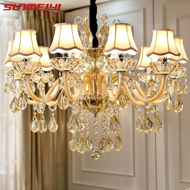 Modern Luxury Crystal Chandelier Lighting For Living Room European Re Para With Shade Indoor Pendant Lamp